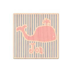 Striped w/ Whales Genuine Wood Sticker (Personalized)