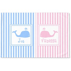 Striped w/ Whales Woven Mat (Personalized)