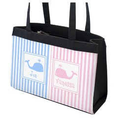Striped w/ Whales Zippered Everyday Tote (Personalized)