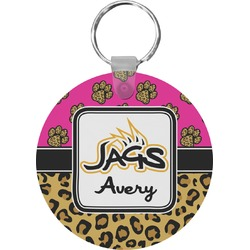 Jags w/Pink Round Keychain (Personalized)