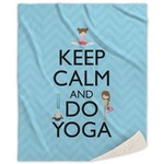 Keep Calm & Do Yoga Sherpa Throw Blanket