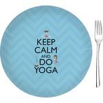 """Keep Calm & Do Yoga Glass Appetizer / Dessert Plates 8"""" - Single or Set"""