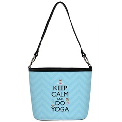 Keep Calm & Do Yoga Bucket Bag w/ Genuine Leather Trim