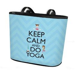 Keep Calm & Do Yoga Bucket Tote w/ Genuine Leather Trim