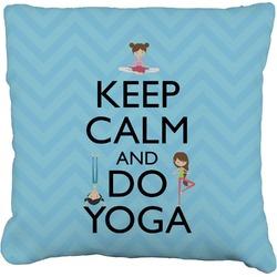 """Keep Calm & Do Yoga Faux-Linen Throw Pillow 16"""""""