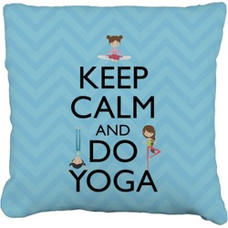 Keep Calm & Do Yoga Burlap Throw Pillow