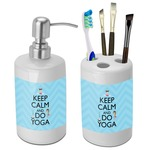 Keep Calm & Do Yoga Bathroom Accessories Set (Ceramic)