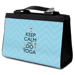 Keep Calm & Do Yoga Classic Tote Purse w/ Leather Trim
