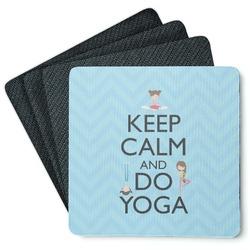 Keep Calm & Do Yoga 4 Square Coasters - Rubber Backed