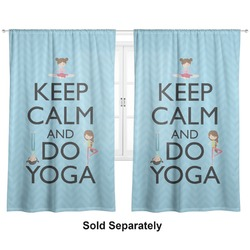 "Keep Calm & Do Yoga Curtains - 20""x84"" Panels - Lined (2 Panels Per Set)"