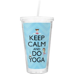 Keep Calm & Do Yoga Double Wall Tumbler with Straw