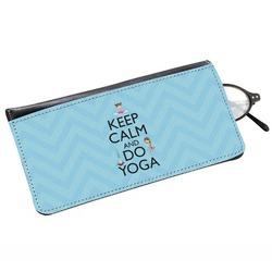 Keep Calm & Do Yoga Genuine Leather Eyeglass Case