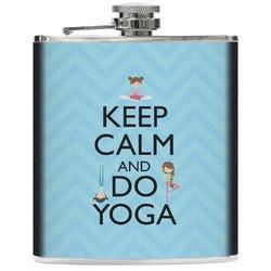 Keep Calm & Do Yoga Genuine Leather Flask