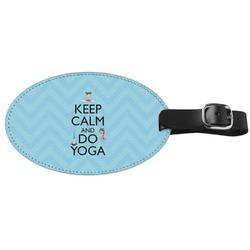 Keep Calm & Do Yoga Genuine Leather Oval Luggage Tag