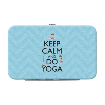 Keep Calm & Do Yoga Genuine Leather Small Framed Wallet