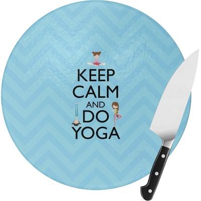 Keep Calm & Do Yoga Round Glass Cutting Board