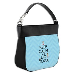 Keep Calm & Do Yoga Hobo Purse w/ Genuine Leather Trim