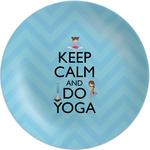 "Keep Calm & Do Yoga Melamine Plate - 8"""
