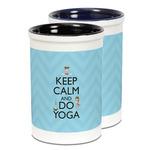 Keep Calm & Do Yoga Ceramic Pencil Holder - Large