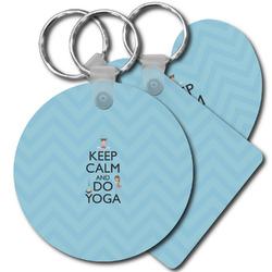 Keep Calm & Do Yoga Plastic Keychains