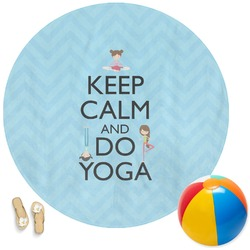 Keep Calm & Do Yoga Round Beach Towel
