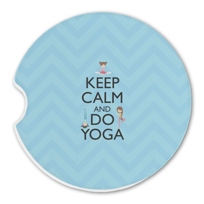 Keep Calm & Do Yoga Sandstone Car Coasters