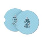Keep Calm & Do Yoga Sandstone Car Coasters