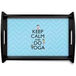 Keep Calm & Do Yoga Black Wooden Tray