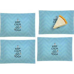 Keep Calm & Do Yoga Set of 4 Rectangular Appetizer / Dessert Plates