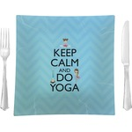 """Keep Calm & Do Yoga Glass Square Lunch / Dinner Plate 9.5"""" - Single or Set of 4"""