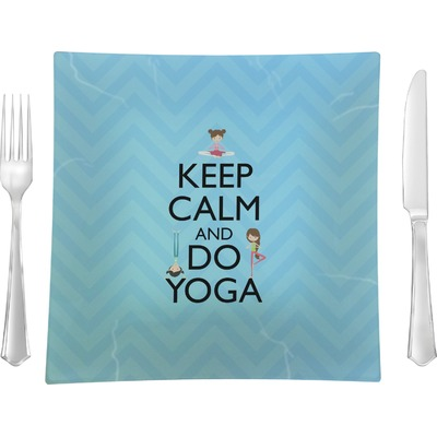 """Keep Calm & Do Yoga Glass Square Lunch / Dinner Plate 9.5"""""""