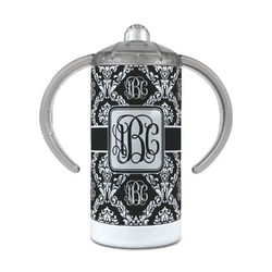 Monogrammed Damask 12 oz Stainless Steel Sippy Cup