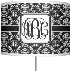 "Monogrammed Damask 13"" Drum Lamp Shade (Personalized)"