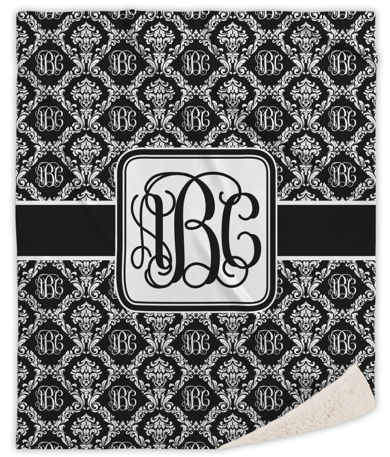 monogrammed damask sherpa throw blanket  personalized