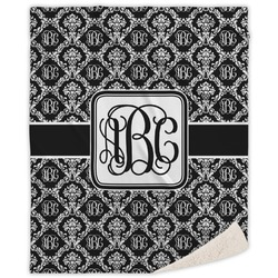 """Monogrammed Damask Sherpa Throw Blanket - 60""""x80"""" (Personalized)"""