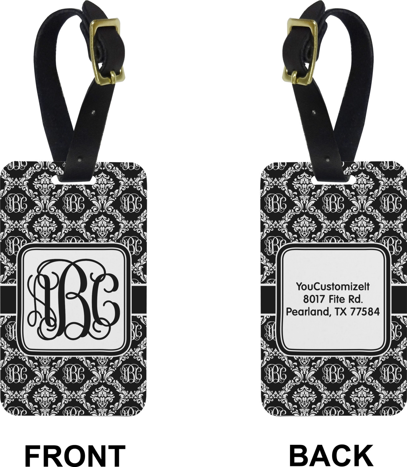 YouCustomizeIt Monogrammed Damask Duffel Bag Personalized