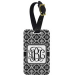 Monogrammed Damask Metal Luggage Tag