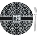 "Monogrammed Damask Glass Appetizer / Dessert Plates 8"" - Single or Set (Personalized)"