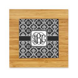 Monogrammed Damask Bamboo Trivet with Ceramic Tile Insert