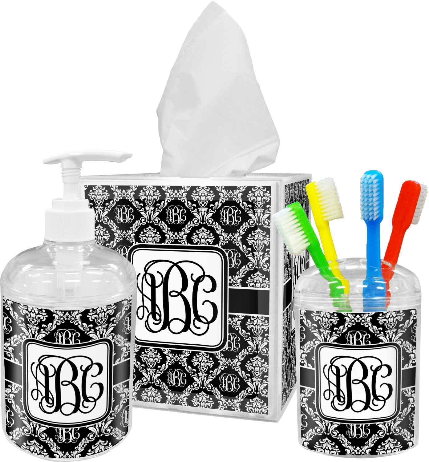 Monogrammed Damask Bathroom Accessories Set Personalized