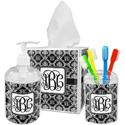Monogrammed Damask Bathroom Accessories Set (Personalized)