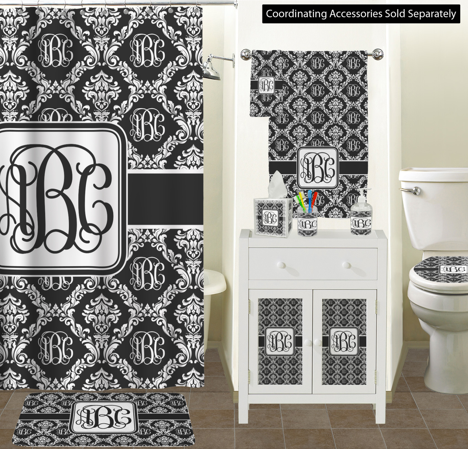 Monogrammed Damask Ceramic Bathroom Accessories Rnk Standard Colors Scene