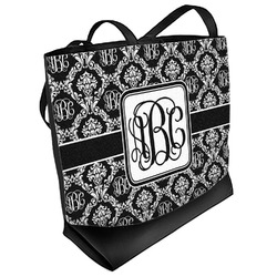Monogrammed Damask Beach Tote Bag (Personalized)