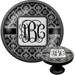 Monogrammed Damask Cabinet Knob (Black) (Personalized)