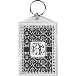 Monogrammed Damask Bling Keychain (Personalized)