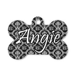 Monogrammed Damask Bone Shaped Dog Tag (Personalized)