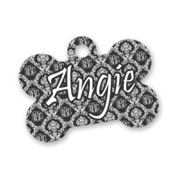 Monogrammed Damask Bone Shaped Dog Tag (Personalized)
