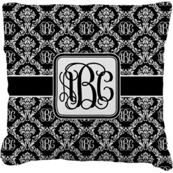 """Monogrammed Damask Faux-Linen Throw Pillow 26"""" (Personalized)"""