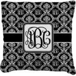 Monogrammed Damask Faux-Linen Throw Pillow (Personalized)