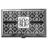 Monogrammed Damask Business Card Holder
